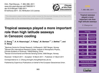 Tropical Seaways Played a More Important... by Zhang, Z.