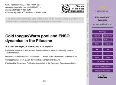Cold Tongue/Warm Pool and Enso Dynamics ... by Von Der Heydt, A. S.