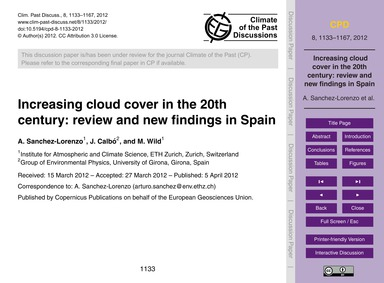 Increasing Cloud Cover in the 20Th Centu... by Sanchez-lorenzo, A.