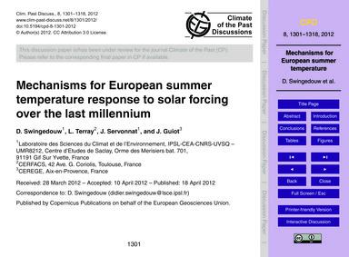 Mechanisms for European Summer Temperatu... by Swingedouw, D.