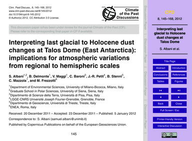 Interpreting Last Glacial to Holocene Du... by Albani, S.