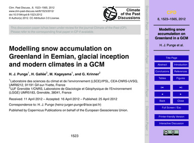 Modelling Snow Accumulation on Greenland... by Punge, H. J.