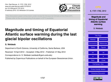 Magnitude and Timing of Equatorial Atlan... by Weldeab, S.