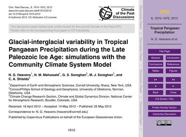 Glacial-interglacial Variability in Trop... by Heavens, N. G.
