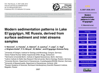 Modern Sedimentation Patterns in Lake El... by Wennrich, V.