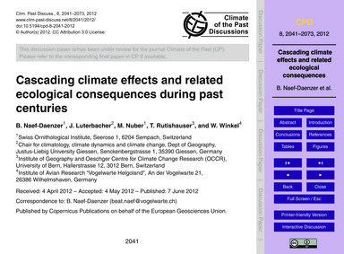 Cascading Climate Effects and Related Ec... by Naef-daenzer, B.