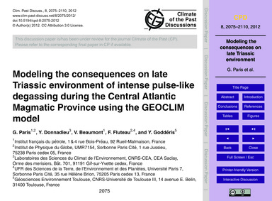 Modeling the Consequences on Late Triass... by Paris, G.