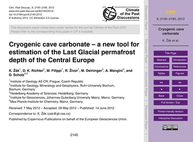 Cryogenic Cave Carbonate – a New Tool fo... by Žák, K.