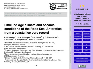 Little Ice Age Climate and Oceanic Condi... by Rhodes, R. H.