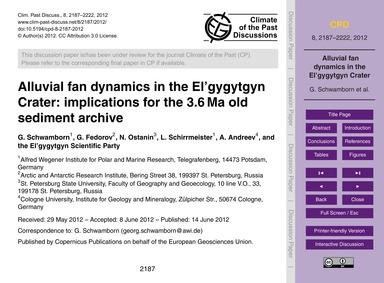 Alluvial Fan Dynamics in the El'Gygytgyn... by Schwamborn, G.
