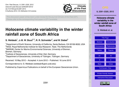 Holocene Climate Variability in the Wint... by Weldeab, S.