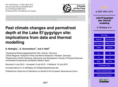 Past Climate Changes and Permafrost Dept... by Mottaghy, D.
