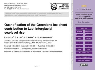 Quantification of the Greenland Ice Shee... by Stone, E. J.
