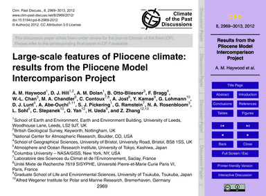 Large-scale Features of Pliocene Climate... by Haywood, A. M.