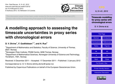 A Modelling Approach to Assessing the Ti... by Divine, D. V.