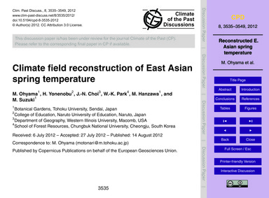 Climate Field Reconstruction of East Asi... by Ohyama, M.
