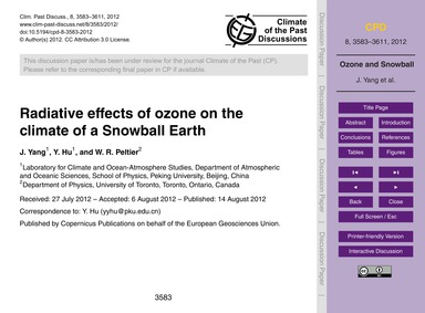 Radiative Effects of Ozone on the Climat... by Yang, J.