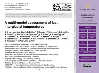 A Multi-model Assessment of Last Intergl... by Lunt, D. J.
