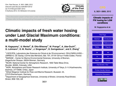 Climatic Impacts of Fresh Water Hosing U... by Kageyama, M.