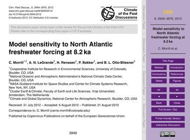 Model Sensitivity to North Atlantic Fres... by Morrill, C.