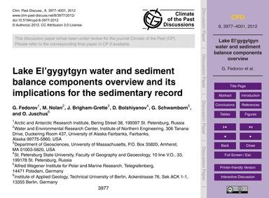 Lake El'Gygytgyn Water and Sediment Bala... by Fedorov, G.