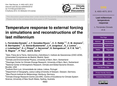 Temperature Response to External Forcing... by Fernández-donado, L.