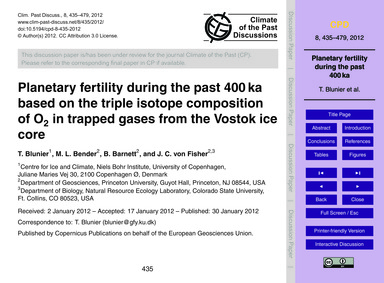 Planetary Fertility During the Past 400 ... by Blunier, T.