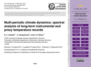 Multi-periodic Climate Dynamics: Spectra... by Lüdecke, H.-j.