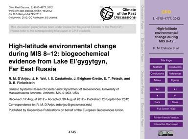 High-latitude Environmental Change Durin... by D'Anjou, R. M.