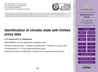 Identification of Climatic State with Li... by Annan, J. D.