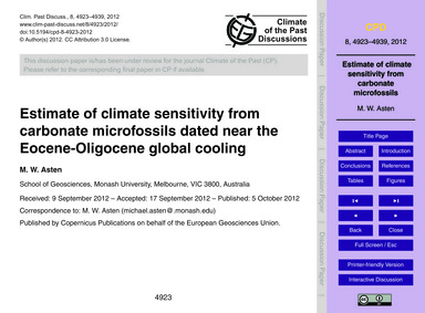 Estimate of Climate Sensitivity from Car... by Asten, M. W.