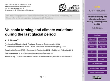 Volcanic Forcing and Climate Variations ... by Flinders, A. F.