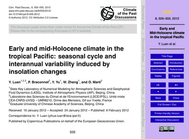 Early and Mid-holocene Climate in the Tr... by Luan, Y.