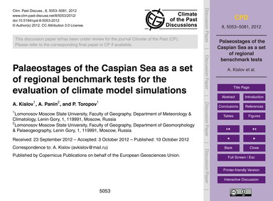 Palaeostages of the Caspian Sea as a Set... by Kislov, A.