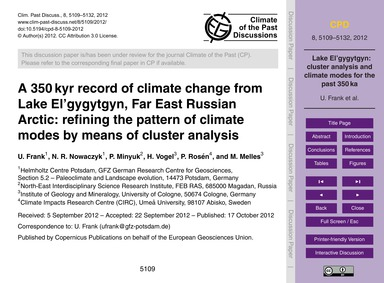 A 350 Kyr Record of Climate Change from ... by Frank, U.