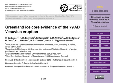 Greenland Ice Core Evidence of the 79 Ad... by Barbante, C.