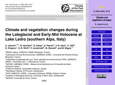 Climate and Vegetation Changes During th... by Joannin, S.