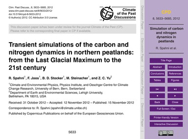 Transient Simulations of the Carbon and ... by Spahni, R.