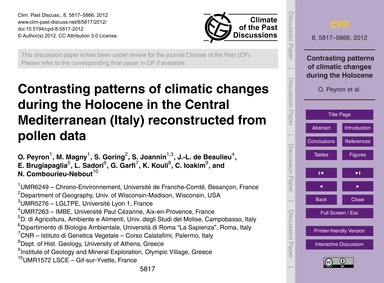 Contrasting Patterns of Climatic Changes... by Peyron, O.