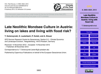Late Neolithic Mondsee Culture in Austri... by Swierczynski, T.