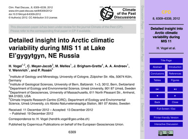 Detailed Insight Into Arctic Climatic Va... by Vogel, H.