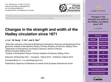 Changes in the Strength and Width of the... by Liu, J.