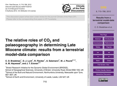 The Relative Roles of Co2 and Palaeogeog... by Bradshaw, C. D.