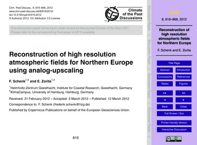Reconstruction of High Resolution Atmosp... by Schenk, F.