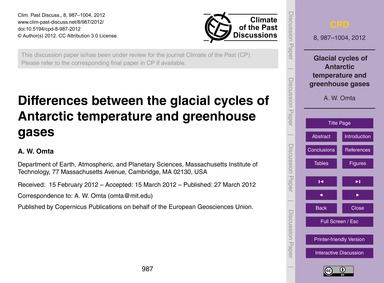 Differences Between the Glacial Cycles o... by Omta, A. W.