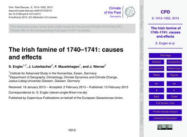The Irish Famine of 1740–1741: Causes an... by Engler, S.