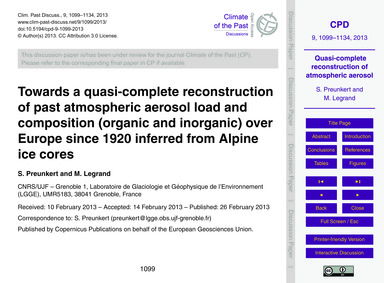 Towards a Quasi-complete Reconstruction ... by Preunkert, S.