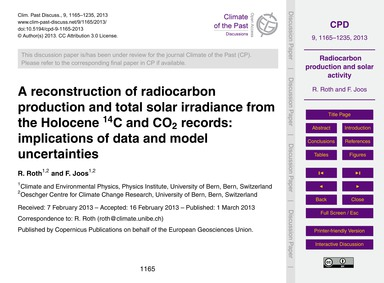 A Reconstruction of Radiocarbon Producti... by Roth, R.