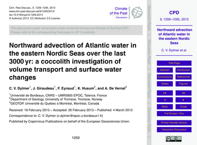 Northward Advection of Atlantic Water in... by Dylmer, C. V.