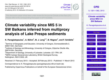 Climate Variability Since Mis 5 in SW Ba... by Panagiotopoulos, K.